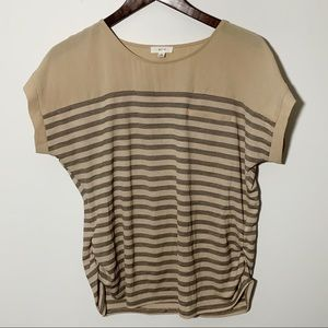 4/$25 Mine Striped Tan Blouse